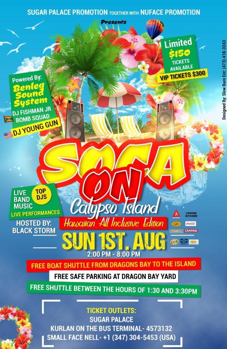 Soca on Calypso Island Sun Aug 1st