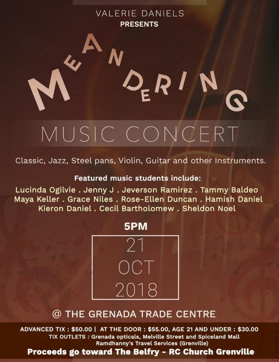 Meandering Music Concert - Grenada Trade Centre Oct 20th