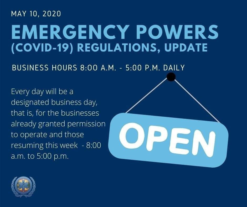 May 10th, 2020 Emergency Powers (COVID-19) Regulations, Update